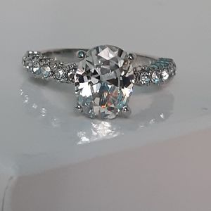 Simulated Sapphire Engagement Ring